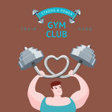 Strong and Power. Gym club poster. Man lifting a barbell Royalty Free Stock Images