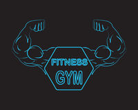 Strong power, muscle arms with frame and text fitness gym , neon light vector illustration Royalty Free Stock Images