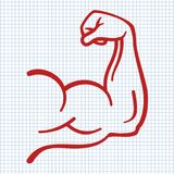 Strong power, muscle arms icon. On notebook page. Vector illustration stock illustration
