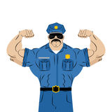 Strong power police officer. large man in police uniform.. Bodybuilder with mustache and glasses. Athlete stripper in  masquerade costume.  Policeman with Big Royalty Free Stock Photography