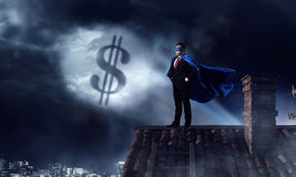 Strong and powerful as super hero . Mixed media Royalty Free Stock Images