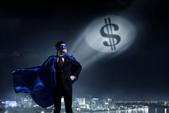 Strong and powerful as super hero . Mixed media royalty free stock photo