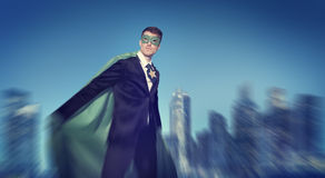 Strong Powerful Business Superhero Cityscape Concept Stock Photos
