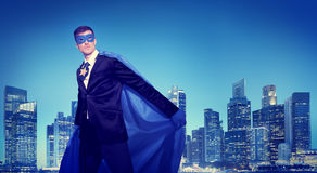 Strong Powerful Business Superhero Cityscape Concept.  Royalty Free Stock Image
