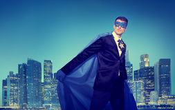 Strong Powerful Business Superhero Cityscape Concepts Royalty Free Stock Images