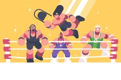 Strong and powerful wrestlers in ring Royalty Free Stock Photography