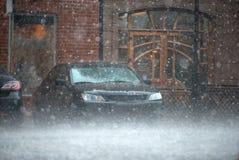 Strong rain in city Stock Photos
