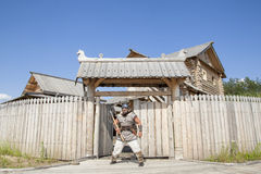 Strong real Viking outside of his home Stock Images