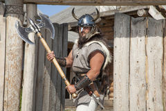 Strong real Viking outside his home Stock Image