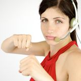 Strong receptionist ready to fight Stock Images