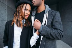 Strong relationships. African American couple royalty free stock image