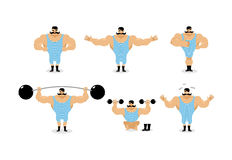 Strong retro athlete set poses. Ancient bodybuilder with mustach Royalty Free Stock Photo