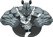 Strong rhinoceros athlete. Vector illustration of a strong rhino with big biceps Royalty Free Stock Photo