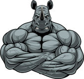 Strong rhinoceros athlete. Vector illustration, symbol of a strong bodybuilder rhinoceros on a white background Stock Photo