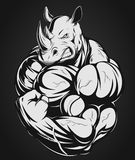 Strong rhinoceros. Vector illustration of a strong rhino with big biceps Royalty Free Stock Images