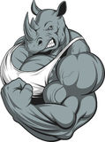 Strong rhinoceros. Vector illustration of a strong rhino with big biceps Stock Photo