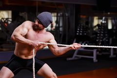 Strong healthy adult ripped man with big muscles tug of war topl. Strong ripped adult man with perfect abs, shoulders, biceps, triceps and chest. Bodybuilder tug royalty free stock image