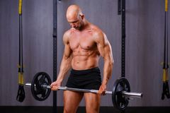 Strong ripped bald man bodybuilder working out with barbell in g royalty free stock photo