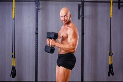Strong ripped bald man pumping iron. Sports man working out with royalty free stock photography