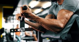 Strong ripped man training in modern gym. Strong ripped man training bicepses in gym stock images