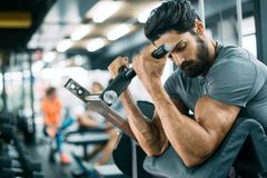 Strong ripped man training in modern gym. Strong ripped men training bicepses in gym stock photography
