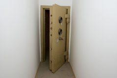 Strong-room. Old abandoned bank vault in the rocks Royalty Free Stock Image