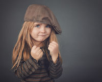 Strong Safety Protection Child on Gray Stock Photos