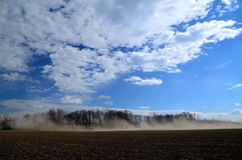 Strong sand storm. On a field in fine weather Royalty Free Stock Photography