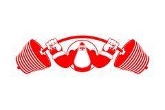 Strong Santa Claus emblem. Santa and barbell logo. Bodybuilder C Stock Images