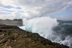 Strong sea surf, bay Devil�s Teor, Lembongan, Indonesia Stock Image