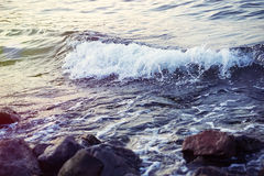 Strong sea wave splashing on the rocky shores Stock Images