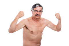 Strong senior man posing. Naked senior man posing and showing his strong body, isolated on white background stock photos