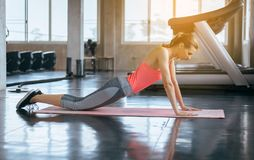 Strong and slim beginner woman doing push up exercises on yoga mat at gym stock image