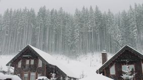 Strong snow comes on the background of Christmas