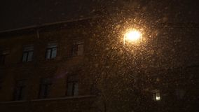 Strong snowfall at night in the city. Big snowflakes illuminated lamp falling. stock video
