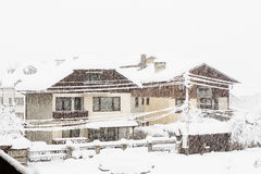 Strong snowfall in the small city Royalty Free Stock Images