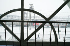 Strong snowfall. View through the station window Royalty Free Stock Images