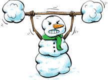 Strong Snowman Workout. A strong, cartoon snowman working out with snow weights Royalty Free Stock Images