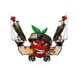 Strong Soldier Tomato Cartoon with gun Royalty Free Stock Photos