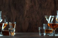 Strong Spirits Set. Hard alcoholic drinks in glasses in assortment: vodka, cognac, tequila, brandy and whiskey, grappa, liqueur,. Vermouth, tincture, rum stock image