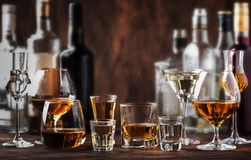 Strong Spirits Set. Hard alcoholic drinks in glasses in assortment: vodka, cognac, tequila, brandy and whiskey, grappa, liqueur,. Vermouth, tincture, rum royalty free stock image