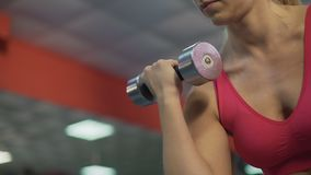 Strong sportive lady training arm muscles, exercising with dumbbells in gym. Stock footage stock video footage