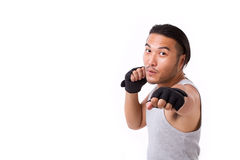Strong sportsman punching Stock Image