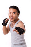 Strong sportsman punching Royalty Free Stock Photography