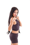 Strong sporty fitness woman practice martial arts, boxing Royalty Free Stock Images