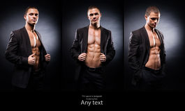 Strong and sporty stripper man on a black background. Strong, fit and sporty stripper man over black background. Set collection Stock Images