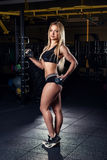 Strong sporty woman bodybuilder with tanned body doing exercises with dumbbell in the gym. Sports and fitness. Royalty Free Stock Photos