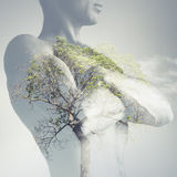 Strong sporty young man torso combined with green tree. As lungs, double exposure photo stock image