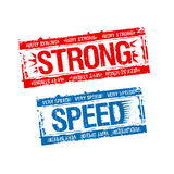 Strong stamps. Strong and speed rubber stamps Royalty Free Stock Photo
