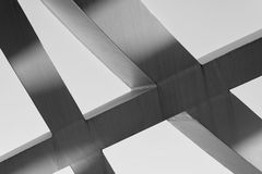 Strong steel beams welded together at sharp angles Stock Photo
